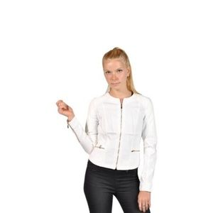 NWT Cache Denim Jacket Faux Leather Snake Skin